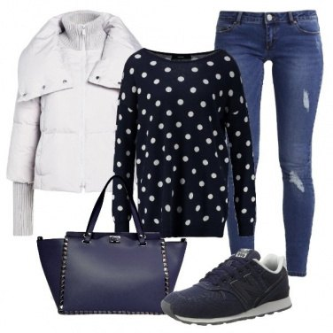 Outfit Blu e pois