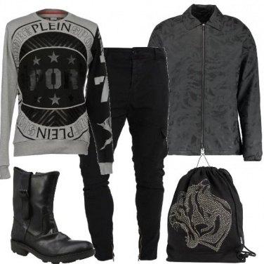 Outfit Rock in grigio e nero