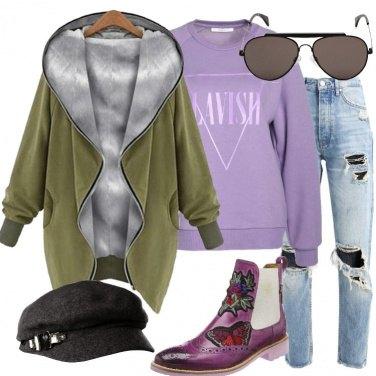 Outfit Felpa oliva oversize