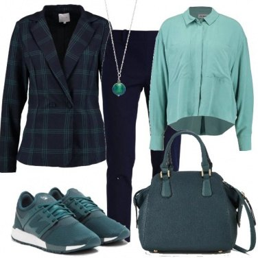 Outfit Blazer e sneakers basse