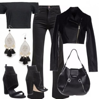 Outfit Total black in crop top