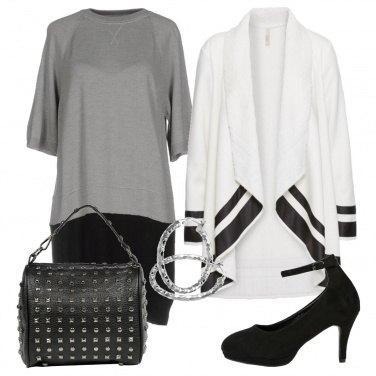 Outfit Vestito in fantasia bicolore
