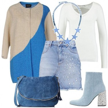 Outfit Azzurro e gonna in denim