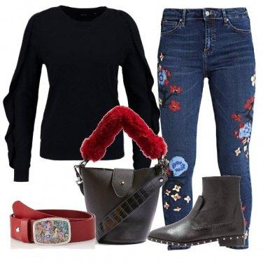 Outfit Denim fiorato