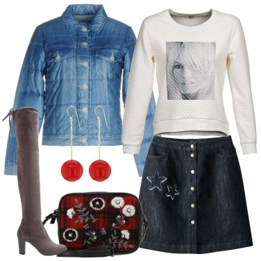 Outfit Gonna in jeans e cuissard