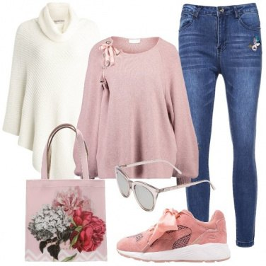 Outfit Romantica in sneakers