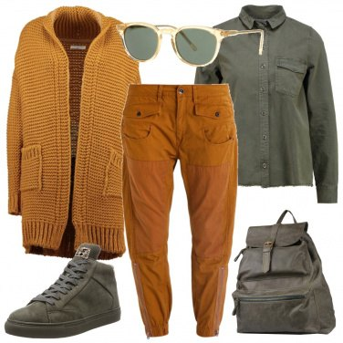 Outfit Ocra e verde
