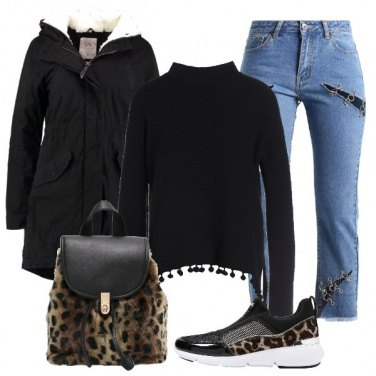 Outfit Jeans e animalier