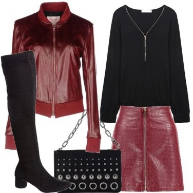 Outfit Il bomber color vino