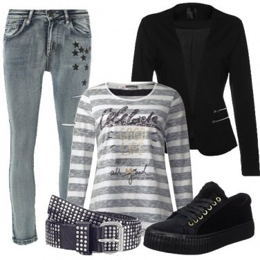 Outfit Stelle, righe e borchie