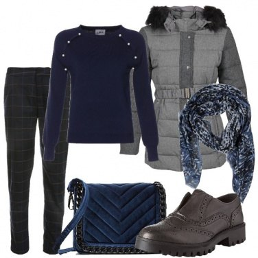 Outfit Casual in blu e grigio