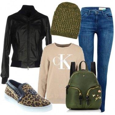 Outfit Urban con l\'animalier