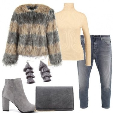 Outfit Ecopelliccia a righe