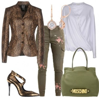 Outfit Giacca in fantasia animalier