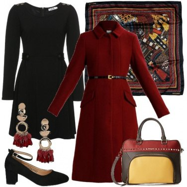 Outfit Foulard e tubino nero