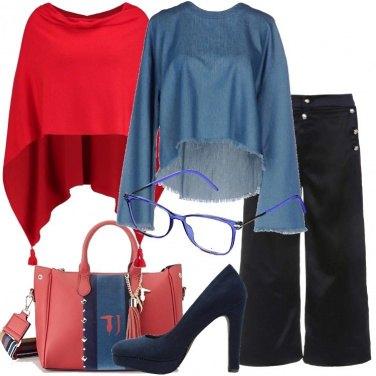 Outfit Blu rosso e denim