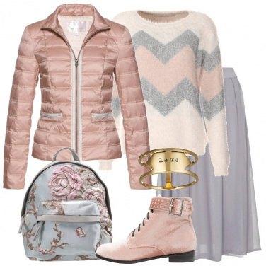 Outfit Piumino rosa antico