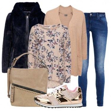 Outfit Blu e beige