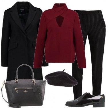 Outfit Nero e bordeaux