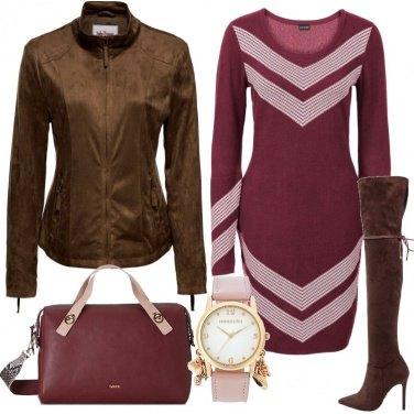 Outfit Bordeaux e marrone
