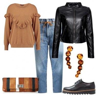 Outfit Chiodo e maglione