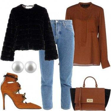 Outfit La camicetta e la pelliccia