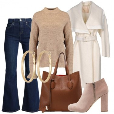 Outfit Il cappotto caban avorio