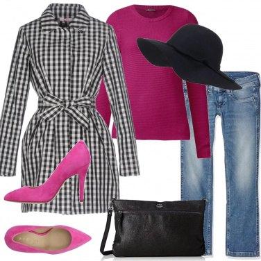 Outfit Quadretto Vichy e fucsia