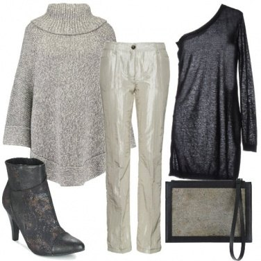 Outfit Pantalone lucido color gesso