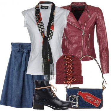 Outfit Gonna in denim e biker