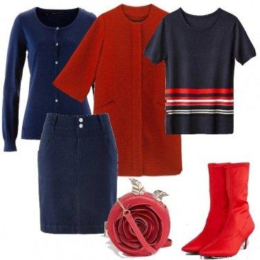Outfit Di blu e rosso vestita