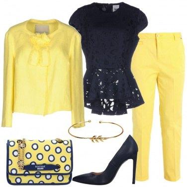 Outfit Cerimonia in giallo e blu