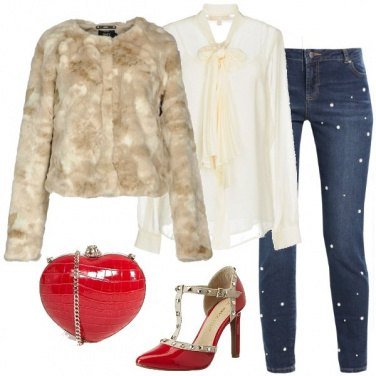 Outfit I jeans con le perle a San Valentino