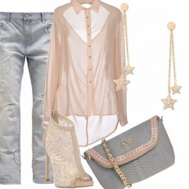 Outfit Baggy jeans e rosa cipria