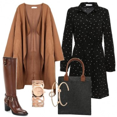 Outfit L\'abito chemisier nero a pois