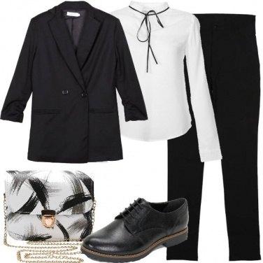 Outfit In bianco e nero con le stringate