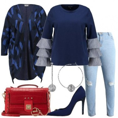 Outfit Felpa blu e jeans