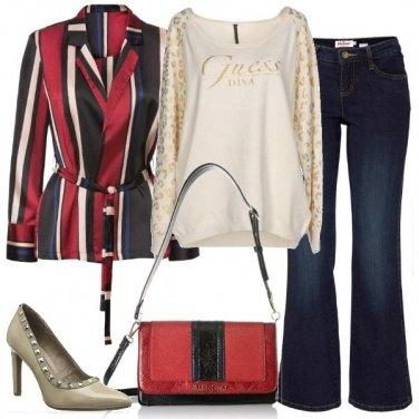 Outfit La diva con il blazer a righe