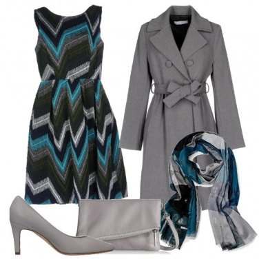 Outfit Grigio e turchese