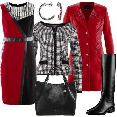 Outfit Pied de poule e rosso
