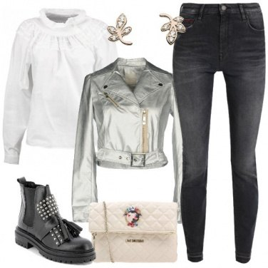Outfit Biker in argento