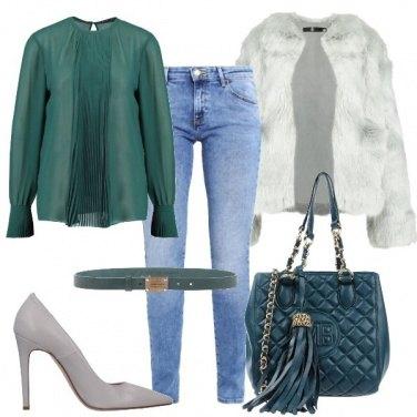 Outfit Verde e grigio