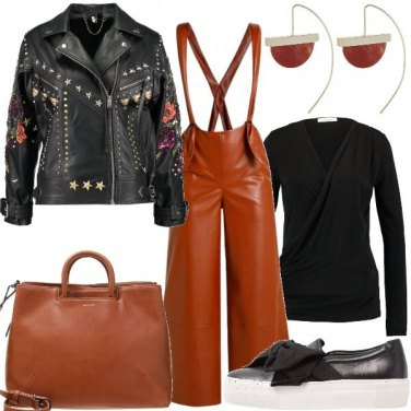 Outfit Salopette in pelle
