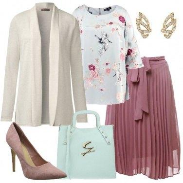 ufficio Ton Gonna e rosa per antico Bon outfit plissettata donna Wq7Ha