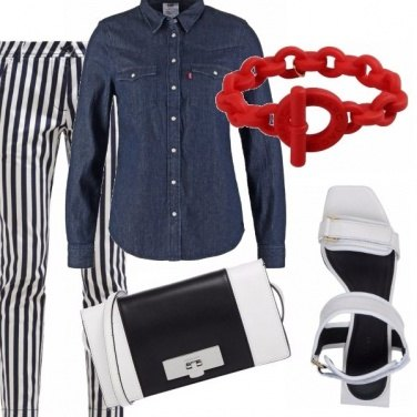 Outfit Denim, stripes and red