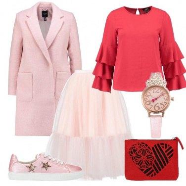 Outfit Romantica in rosa e rosso