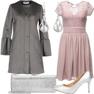 Outfit Chic con pizzo e argento