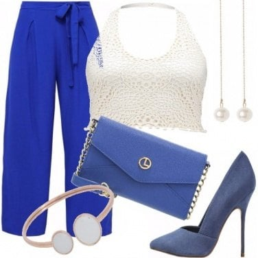 Outfit White e blu dark