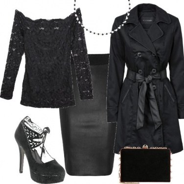 Outfit Pizzo, perle e pelle