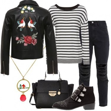 Outfit Biker floreale e righe